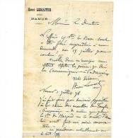 Henri Lemaitre - Célèbre Avocat De Namur (il A Sa Rue) - Lettre Du 1 Juillet 1878 = Défenseur Des - Autographes