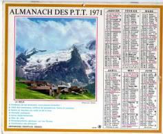 LE CALENDRIERS ALMANACH DES P.T.T.(SOMME) ANNEE DE VOTRE NAISSANCE 1971 DOUBLES PHOTOS INTERIEUR 6 PAGES COMPLET - Big : 1971-80