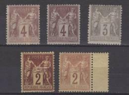 FRANCE N° 85 à 87 * + Nuances - 1876-1898 Sage (Type II)