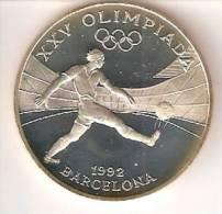MONEDA DE PLATA DE ANDORRA DE 10 DINERS AÑO 1989 DE LAS OLIMPIADAS DE BARCELONA 1992 (FUTBOL-FOOTBALL) SILVER-ARGENT - Andorra