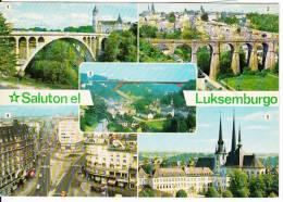 Saluton Luksemburgo Luxembourg - Souvenir Greetings - Multivues - Circulée 1979 - Timbres - 2 Scans - Postcards