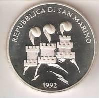 MONEDA DE PLATA DE SAN MARINO DE 1000 LIRAS AÑO 1992 DE LAS OLIMPIADAS DE BARCELONA 1992 (SILVER-ARGENT) - San Marino
