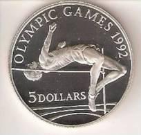 MONEDA DE PLATA DE COOK ISLANDS DE 5 DOLARES AÑO 1992 DE LAS OLIMPIADAS DE BARCELONA 1992 (SILVER-ARGENT )SALTO  ALTURA - Islas Cook