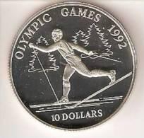 MONEDA DE PLATA DE COOK ISLANDS DE 10 DOLARES AÑO 1990 DE LAS OLIMPIADAS DE BARCELONA 1992 (SILVER-ARGENT )SALTO  ALTURA - Islas Cook