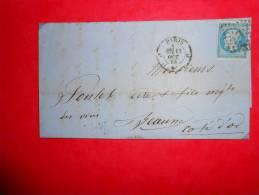 Lot.f 13;LAC De    Paris A Beaune;cachet  Au Verso;nuance - 1853-1860 Napoléon III.