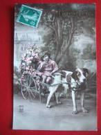 TRANSPORT - VOITURE A CHIEN - PETITE FILLE DANS UNE CHARETTE REMPLIE DE FLEURS - BELLE CARTE - - Cartoline