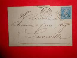 Lot.f 30;LAC De  NANCY Gare De Nancy Pour Luneville;cachet    Passe Au Verso;nuance,variété A Etudier - 1862 Napoleon III