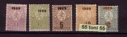 Bulgaria / Bulgarie 1909, Overprint Set , Mi. Nr.- 71/75 , 5v.- MNH** - 1909-45 Royaume