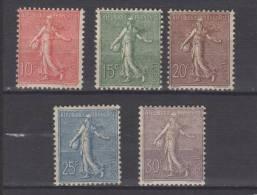 France Serie N° 129 / 133 Neufs Avec Charnières * - 1903-60 Semeuse Lignée