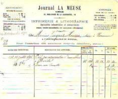Liège - 1892 - Journal La Meus - Imprimerie & Lithographie - Printing & Stationeries