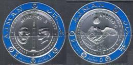 2032 ✅ Space Apollo 11 SILVER Foil 1969 Ajman 2v Set MNH ** Imperf Imp 13ME - Raumfahrt