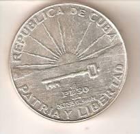 MONEDA DE PLATA DE CUBA DE 1 PESO DEL AÑO 1953 CENTENARIO DE MARTI  (COIN) SILVER, ARGENT - Cuba