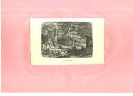 -  LE GROS FOUTEAU Fontainebleau)  . GRAVURE SUR BOIS FIN DU XIXe S. - F. Arbres & Arbustes