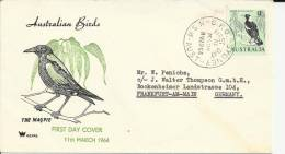 AUSTRALIA FDC SYDNEY A ALEMANIA 1964 AVA PAJARO BLACK BACKED MAGPIE - Birds