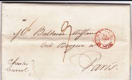 CUBA - 1839 - RARE LETTRE De LA HAVANE (HABANA) Pour PARIS Avec CACHET D´ENTREE OUTREMER LE HAVRE - Préphilatélie