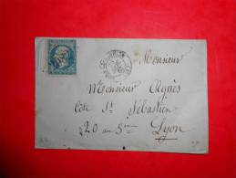 Lot F41 LSC De Lons Le Saunier A Lyon,verso;a Etudier - 1853-1860 Napoléon III.
