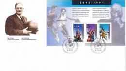 1991   Basketball Bloc Feuillet --  Souvenir Sheet - First Day Covers