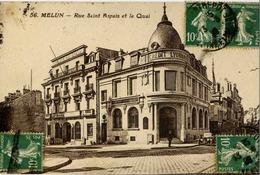 77 MELUN - Rue Saint-Aspais Et Le Quai - Banques Crédit Lyonnais Et Société Générale - Melun