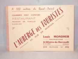 Carte De Visite Publicité. St.Hilaire-du-Harcouët. Auberge Des Touristes. Restaurant-Hôtel. - Cartes De Visite