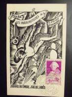 Algerie Carte Maximum Journée Du Timbre Sidi Ded Abes Les Parachutistes De La Legion Etrangere 26/3/49 - Algeria (1924-1962)