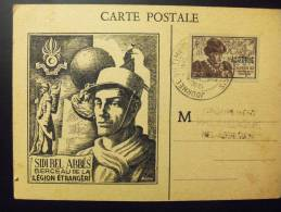 Algerie Carte Maximum Journée Du Timbre Sidi Ded Abes Berceau De La Legion Etrangere 13/11/45 Tp Lois Xi Surchargé Alger - Algeria (1924-1962)