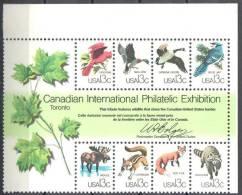 United States 1978 CAPEX´78 - Birds  Animals Sc #1757a-h - Mi.bl.16 - MNH (**) - Blocks & Kleinbögen