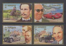 St. Vincent (1987) Yv. 1024/27  /  Cars - Voitures - Automobiles - Benz - Rolls - Ferrari - Ford - Auto's