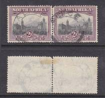 South Africa,Union, 1927, 2d SG 34, Horizontal Pair Used ALICE C.d.s - Used Stamps