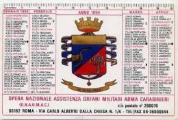 Calendarietto - 1994 Opera Nazionale Assistenza Orfani Militari Arma Carabinieri - Calendari