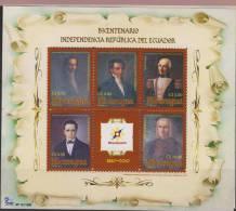 O) 2011 NICARAGUA, INDEPENDENCE BICENTENNIAL REPUBLIC OF ECUADOR, MANUEL RODRIGUEZ, EUGENIO DE SANTA CRUZ, JUAN SALINAS, - Nicaragua