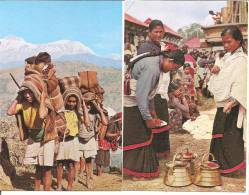 DEUX CARTES DU NEPAL  Typique Hommes;typique Femmes - Nepal