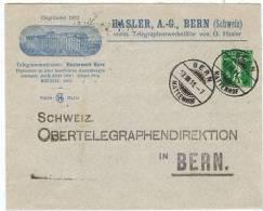 TELL 28 - Entier Postal Lettre D´entreprise De Hasler Berne Fabrique De Télégraphes De 1911 - Ganzsachen
