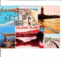 CPSM  De  VALRAS-PLAGE   (34)  -  6 Vues Diverses Dont Une Avec Une Femme Nue Allongée Dans L´eau  //  TBE - Autres Communes