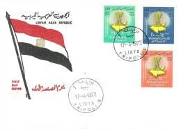 FDC - LIBIA - LYBIA - L.A.R.  -  ANNIVERSARIO FEDERAZIONE DELLA FONDAZIONE REPUBBLICA ARABA  ANNO 1972 - Libya