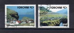 "FEROE 1993 N° YT 242 243 OBLITERES "" VUES DU VILLAGE DE GJOGO "". Parfait état. - Färöer Inseln"