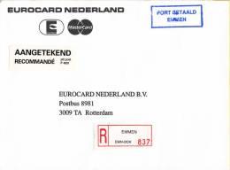 Nederland - Aangetekend/Recommandé Brief Vertrek Emmen -aantekenstrookje Emmen 837 - Poststempel