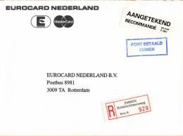 Nederland - Aangetekend/Recommandé Brief Vertrek Emmen -aantekenstrookje Emmen Bokslotdwarsweg 929 - Poststempel