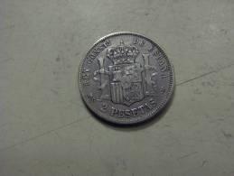 Piece Monnaie ESPAGNE Argent 2 Pesetas 1882 (13/14) - Collections