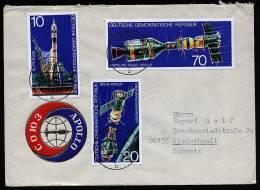A1621) Raumfahrt SOJUS-APOLLO Brief DDR Mi.2083-2085 Von Greiz 16.9.1975 - Briefe U. Dokumente