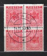 SS1172 - ALBANIA , Segnatasse  Yvert N. 31 Quartina Usata . Un Dente Aperto - Albania