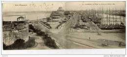 35-SAINT-MALO-Rare Carte Double-11x28cm-La Plage,Le Casino Et Le Bassin à Flot-Voiliers - Saint Malo
