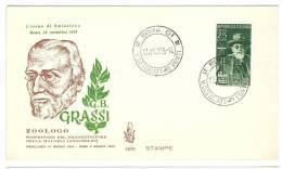ITALIA REPUBBLICA - FDC  VENETIA - ANNO 1955 - GIOVAN BATTISTA GRASSI - F.D.C.