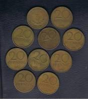 ALEMANIA - GERMANY -  REP. DEM.  Lote 10 Monedas X 20 Pfennig 1969 - [ 6] 1949-1990 : RDA - Rep. Dem. Alemana