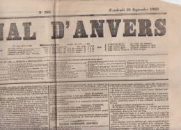 Krant Journal   Journal D' Anvers    Vendredi 21/09/1866    Scan 3172 - Historical Documents