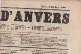 Krant Journal   Journal D´ Anvers    Mercredi 27/06/1866    Scan 3173 - Historical Documents