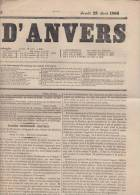 Krant Journal   Journal D´ Anvers    Jeudi 23/08/1866    Scan 3174 - Historical Documents
