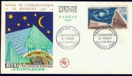FRANCE 1963 FDC YV 1362 RADIO TELOSCOOP NANCY, RADIO TELESCOPE. - FDC