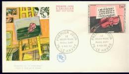 FRANCE 1965 FDC YV 1459 ART, KUNST,  LE VIOLIN ROUGE, RAOUL DUFY. - FDC