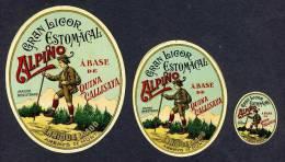 3 Etiquettes De Liqueur: Estomacal Alpino. Decoupees (8 X 10 Cms La Plus Grande) (Ref.65506a) - Labels
