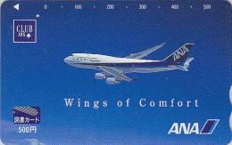 Carte Prépayée Japon - ANA Airline - Japan Airlines Prepaid Card - Tosho Karte - Avion 373 - Avions